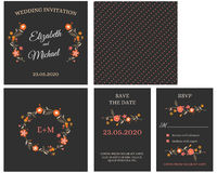 Wedding Invitation Card Invitation with flowers. Wedding Invitation Card Invitation with orange hand drawing flowers vector illustration