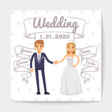Wedding invitation card with just married young couple and them names on hand drawn ribbons vector template. Wedding invitation couple woman and man Royalty Free Stock Photography