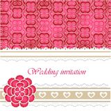 Wedding invitation card with lace elements Stock Images