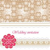 Wedding invitation card with lace elements Stock Photo