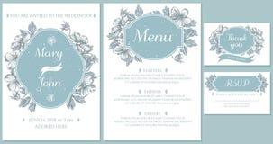 Wedding invitation card with light blue meadow geranium royalty free illustration