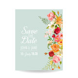 Wedding Invitation Card with Lily Flowers and Orchid. Baby Shower Decoration Royalty Free Stock Image