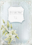 Wedding invitation card. lilyes on grunge background. vector ilustration Stock Photos