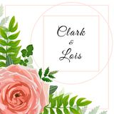 Wedding invitation card. Lovely template. Card design with rose flower, forest greenery ferns, plants, green leaves. Graphic design vector illustration