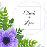 Wedding invitation card. Lovely template. Card design with violet anemone flower, forest greenery ferns, plants, green leaves. Graphic design Royalty Free Stock Image