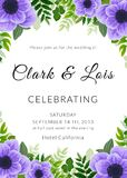 Wedding invitation card. Lovely template. Card design with violet anemone flower, forest greenery ferns, plants, green leaves. Graphic design vector illustration