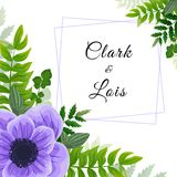 Wedding invitation card. Lovely template. Card design with violet anemone flower, forest greenery ferns, plants, green leaves. Graphic design stock illustration