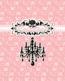 Wedding invitation card with luxury chandelier Stock Photo