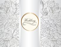 Wedding invitation card with ornament in white color Royalty Free Stock Images