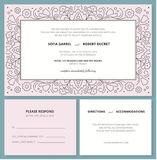 Wedding invitation card with a outline pattern and R.S.V.P. Stock Photo
