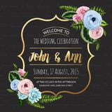 Wedding invitation card with painted flowers Royalty Free Stock Image