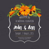 Wedding invitation card with painted flowers Royalty Free Stock Photos