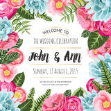 Wedding invitation card with painted flowers Royalty Free Stock Photography