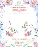 Wedding invitation or card with pink floral background. Greeting postcard. Elegance pattern with flower illustration for birthday vector illustration