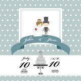 Wedding invitation card on polka dot pattern Stock Photography