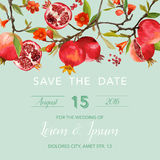 Wedding Invitation Card - with Pomegranates and Flowers Background. Save the Date - in vector vector illustration