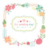 Wedding invitation card with pretty stylized Royalty Free Stock Images