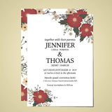 Wedding invitation card printed in vintage style on 5 * 7 inch white cardboard in front and back. Suitable for married couples vector illustration