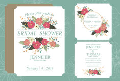 Wedding invitation card printed in vintage style on 5 * 7 inch white cardboard in front and back. Suitable for married couples royalty free illustration