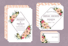 Wedding invitation card printed in vintage style on 5 * 7 inch white cardboard in front and back. Suitable for married couples Royalty Free Stock Image