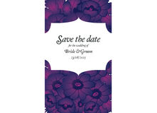 Wedding invitation card with purple flowers Royalty Free Stock Photo