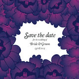 Wedding invitation card with purple flowers Royalty Free Stock Image