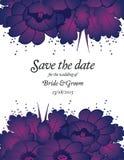 Wedding invitation card with purple flowers Stock Image