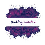 Wedding invitation card with purple flowers Stock Photos