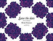 Wedding invitation card with purple flowers Royalty Free Stock Images