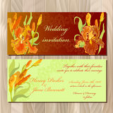 Wedding invitation card with red iris flower background. Vector illustration Royalty Free Stock Photo