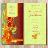 Wedding invitation card with red iris flower background. Vector illustration Royalty Free Stock Photos