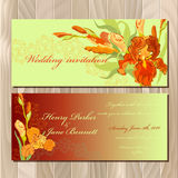 Wedding invitation card with red iris flower background. Vector illustration Royalty Free Stock Image