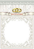 Wedding invitation card. With rings in the frame with a pattern Stock Photos