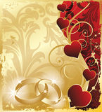 Wedding invitation card with rings and hearts, Stock Images