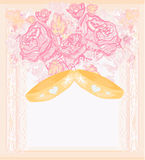 Wedding Invitation card with rings Stock Image
