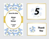 Wedding invitation card with a romantic delicate flower royalty free illustration