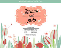 Wedding invitation card with romantic flower templates Royalty Free Stock Photo