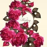 Wedding invitation card with roses Stock Photo