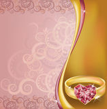 Wedding invitation card with ruby heart ring Stock Photo