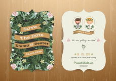 Wedding invitation card rustic cartoon bride and groom Stock Photography