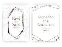 Wedding invitation card, Save the date wedding card, Modern card design with golden geometric and brush stroke. Wedding invitation card, Save the date wedding royalty free illustration