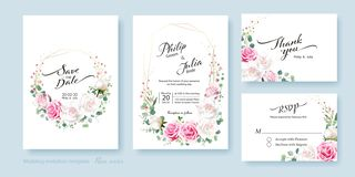 Wedding Invitation card, save the date, thank you, rsvp template. Vector. White lily flower, silver dollar plant, olive leaves, royalty free illustration
