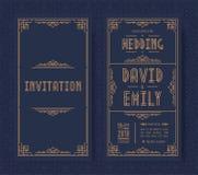 Wedding invitation card set art deco style gold color on black background with frame vector illustration