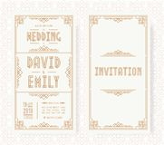 Wedding invitation card set art deco style gold color on white background with frame. Greeting card. Vector Illustration vector illustration