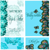 Wedding invitation card set with hand drawn flowers and butterfly Royalty Free Stock Images