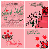 Wedding invitation card set with hand drawn flowers Royalty Free Stock Photography