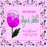 Wedding invitation card set with hand drawn flowers Stock Photo