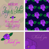Wedding invitation card set with hand drawn pansy flowers Stock Images