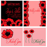 Wedding invitation card set with hand drawn poppy flowers Stock Photo