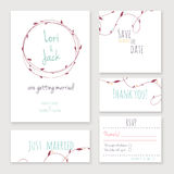 Wedding invitation card set. Stock Photos